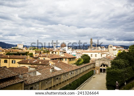 View over the red roofs of Florence in Tuscany, Italy. - stock photo