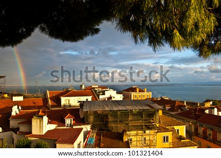 view over the roofs of Lisbon from the castle - stock photo