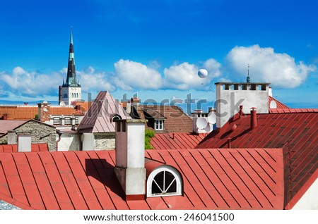 View over the rooftops and church spiers of the Old Town Tallinn - stock photo