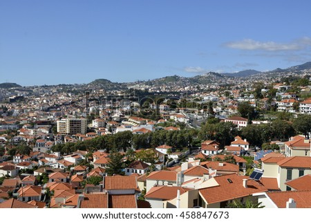 View over the rooftops of Funchal in Madeira, Portugal