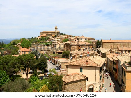 View over the rooftops of Montalcino, Tuscany, Italy - stock photo