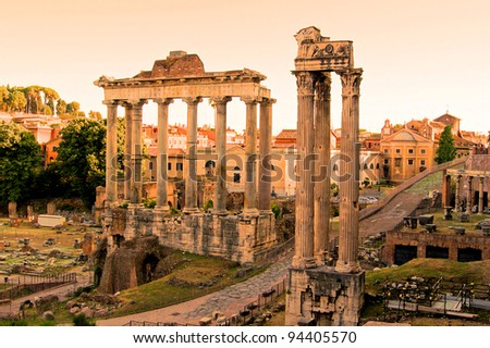 View over the ruins of the Roman Forum at sunset, Rome, Italy - stock photo
