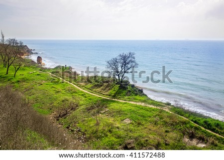 view over the sea - stock photo