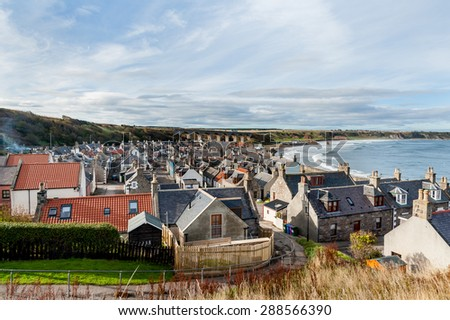 View over the town of Cullen in North East Scotland. - stock photo