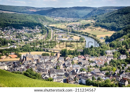 View over the town of Saarburg, Germany from the top of a nearby hill.