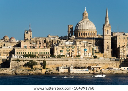 View over the unique skyline of Malta's capital Valletta.