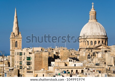 View over the unique skyline of Malta's capital Valletta. - stock photo