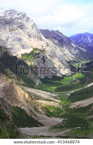 view over the valley of the gramai alp in the karwendel mountains of the european alps by daylight