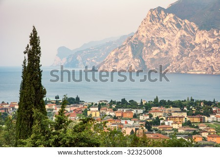 View over the village of Torbole at Lake Garda - stock photo