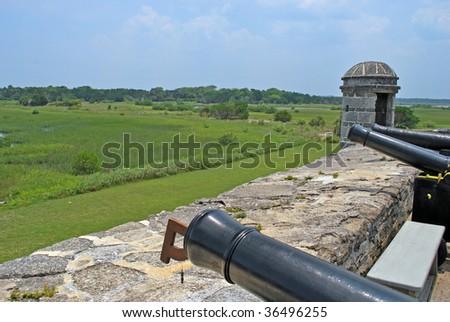 view over the wall of historic fort matanzas florida usa - stock photo