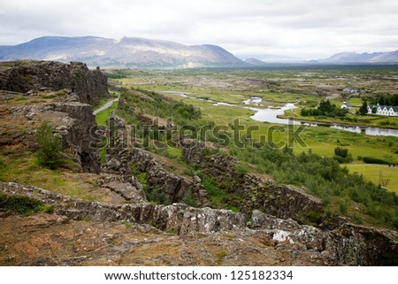 View Over Thingvellir National Park in Iceland - stock photo