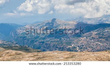 View over town of Bsharri in Qadisha valley, Lebanon - stock photo