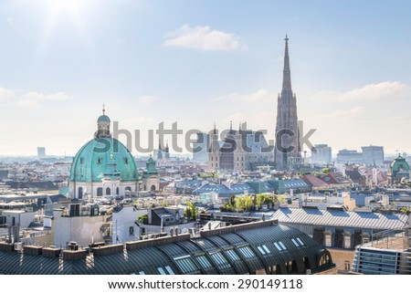 View over Vienna Skyline with St. Stephen's Cathedral at morning, Vienna, Austria - stock photo