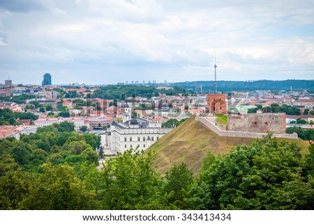 View over Vilnius in summer, capital of Lithuania