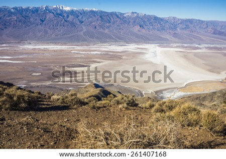 View overlooking Badwater Basin in Death Valley National Park - Dante's Peak, California - stock photo