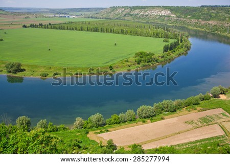 View overlooking river, beautiful summer landscape, nature photo