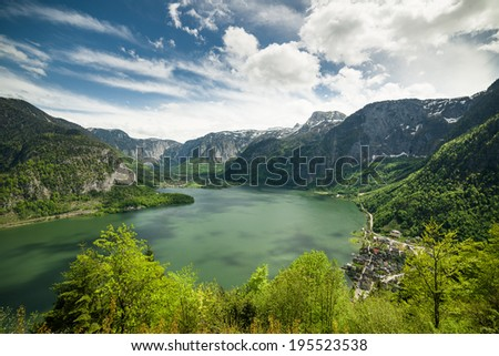 View overlooking the Hallstatt lake and town, Austria - stock photo