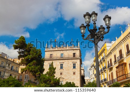View Plaza de la Reina - Valencia Spain - stock photo