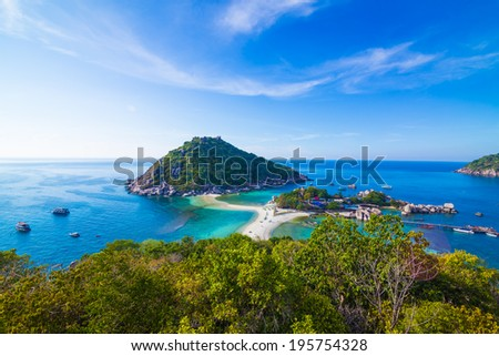 View point from top of mountain for see the beach, sea and nature of NangYuan and Tao island - stock photo