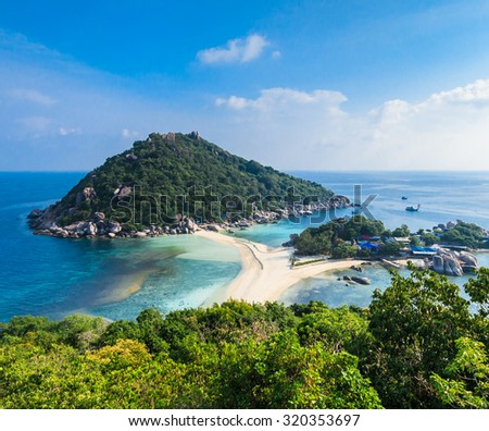 View point from top of  NangYuan and Tao island in Suratthani Thailand