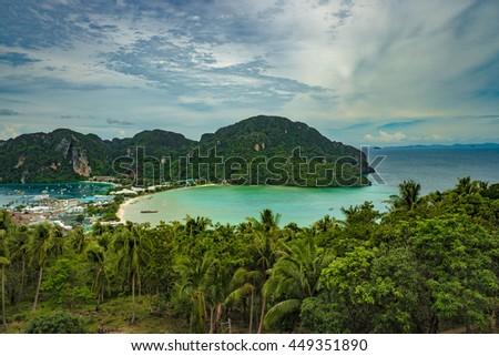 View Point Koh Phi Phi Don in andaman sea, Phuket, Krabi, South of Thailand. - stock photo