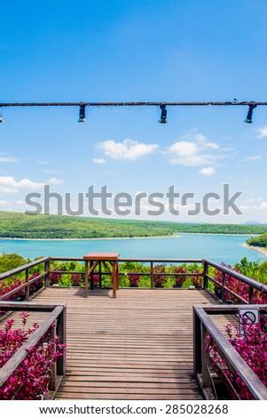 View point of Lamtakong dam, Thailand. - stock photo