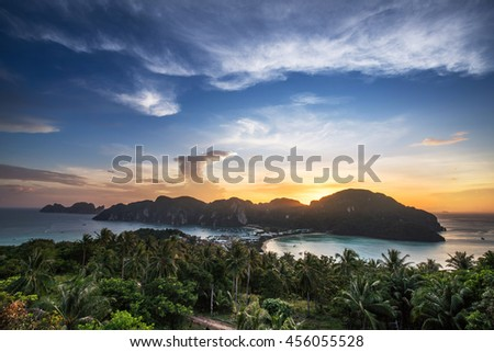 View point of Phi Phi Island from high place at sunset time, Krabi, Thailand