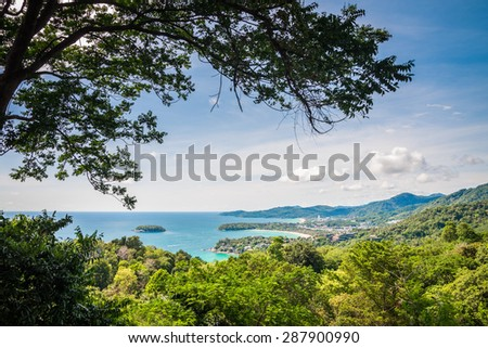 View point on the top of mountain in Phuket Thailand - stock photo