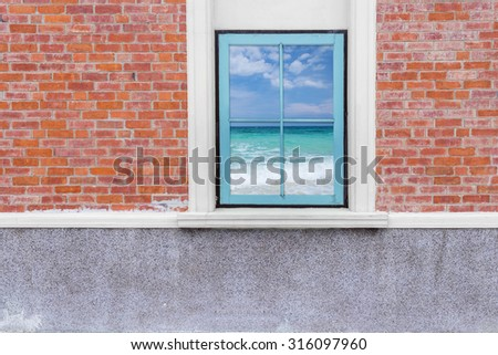view seascape from wooden window and brick wall, Beautiful tropical beach and blue sky sea and sky, phuket, thailand - stock photo