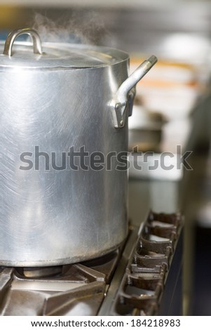 View some industrial pots in a restaurant