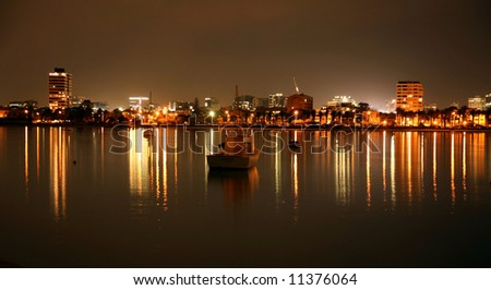 View  south  Melbourne at  night - stock photo