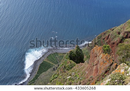 View straight down to beach and sea from Cabo Girao in Madeira, Portugal. (one of the highest cliffs in the world 590 metres)