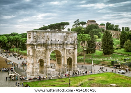 View the Arch of Constantine and Palatine Hill in Rome, Italy.  - stock photo