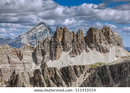 View the range of mountain peaks - the Dolomites. - stock photo