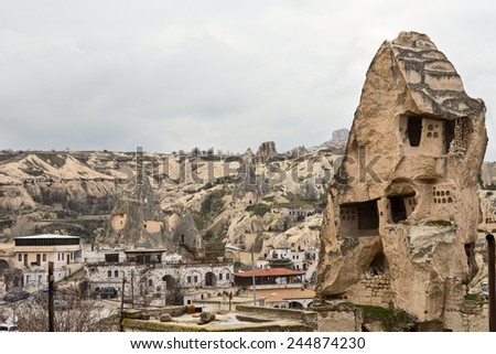 View the town of Goreme in Cappadocia, Turkey - stock photo