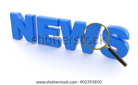"""View through a magnifying glass of the text of """"news"""". - stock photo"""