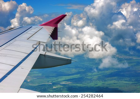 view through airplane window - stock photo