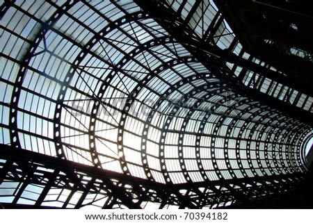View through big windows of glass hall - stock photo