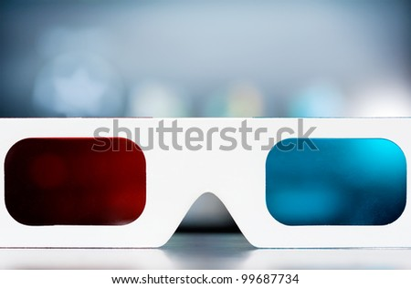 View through 3d glasses with copy space - stock photo