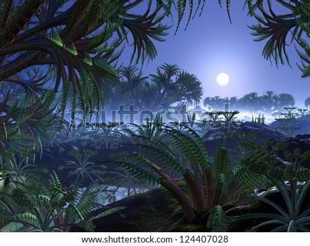 View through dense alien foliage and strange plant-life to sun in bright blue sky. - stock photo