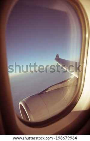 View through plane window - stock photo