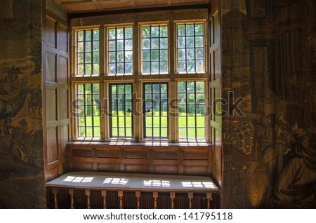 View through stone mullion window, England - stock photo