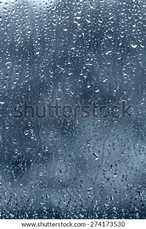 view through the raindrop window on rainy day in vertical