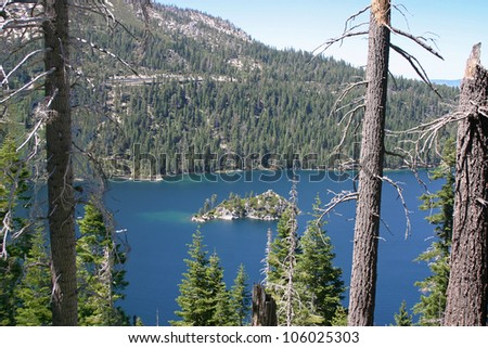 View through the trees of Fannette Island on Lake Tahoe in California