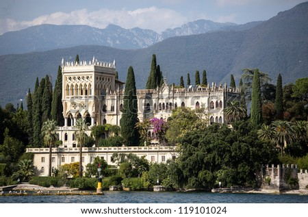 View to a villa on isola del Garda at lake Garda - stock photo