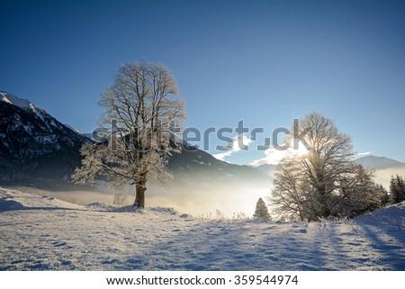 View to a winter landscape with mountain range, Gasteinertal valley near Bad Gastein, Pongau Alps - Salzburg Austria Europe - stock photo