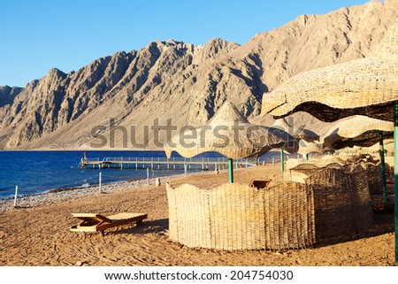 view to beach in Egypt - stock photo