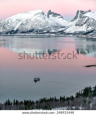 View to beautiful fjord on Senja island at sunset, Troms county - Norway - stock photo