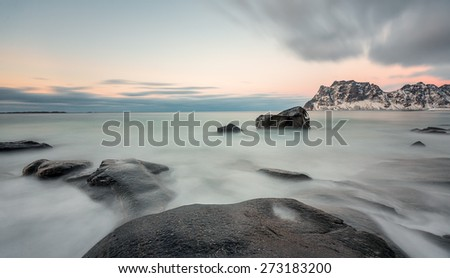 View to beautiful Utakleiv Beach on Lofoten islands (long exposure) - Norway - stock photo