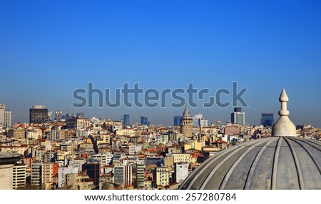 View to Beyoglu from the Suleymaniye Mosque, Istanbul. Turkey. - stock photo
